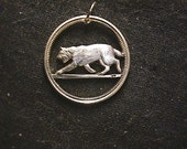 LYNX cut coin necklace made from a Canadian SILVER  Quarter