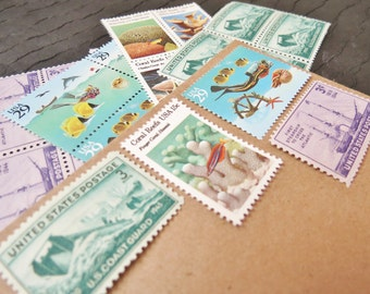 Ocean Wonders .. UNused Vintage Postage Stamps  .. post 5 letters