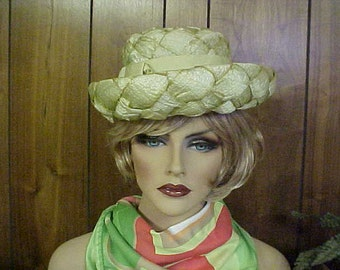 "Chartreuse woven straw derby hat with grosgrain ribbon band and bow - ""Christine original""- fits 21-22 inches"