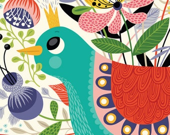 Avian Princess ... - limited edition giclee print of an original illustration (8 x 10 in)