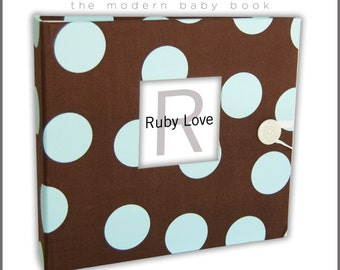 BABY BOOK | Chocolate Brown and Blue Polka Dot Album | Ruby Love Modern Baby Memory Book