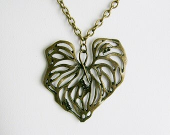 Large Antiqued Brass Filigree Leaf Necklace on a Chain