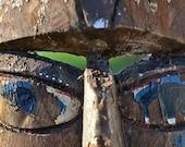 AFRICAN MASK...  rustic wood...   home decor...  primitive art... t12 L