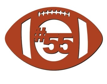 Unfinished Wood Football with number cutout in 13.5 x 23 inch