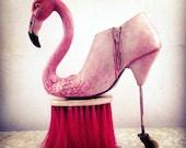 Pink Flamingo Surrealistic Alice in Wonderland Shoe Sculpture