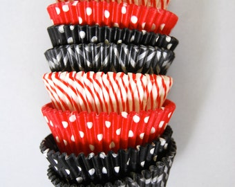 Red and Black Silver / Pirate Stack of Cupcake Liners (40)