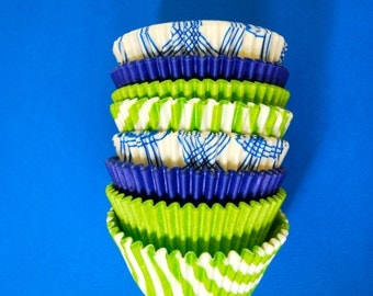 Lime and Blue Themed Boys Stack of Cupcake Liners (40)