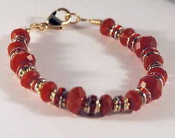 Red Velvet Bracelet with Swarovski and Czech Crystal
