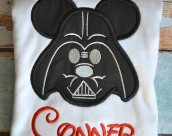 Darth Vader Mickey Mouse Boys Embroidered shirt, Boys darth vader shirt, boys birthday shirt