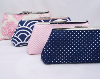 Navy and Pink Bridesmaids Gift Bridal Party Clutch Handbag DESIGN YOUR OWN as gift for Wedding Party in various Navy fabrics