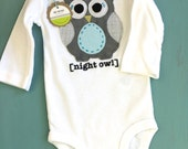 Night Owl Long Sleeve Baby Bodysuit Gender Neutral