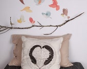 ON SALE Fabric Wall Decal - Flying Twitters Earthy (reusable) No PVC