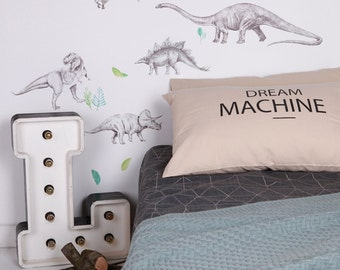 Fabric Wall Decal - Dinosaur Invasion (reusable) NO PVC