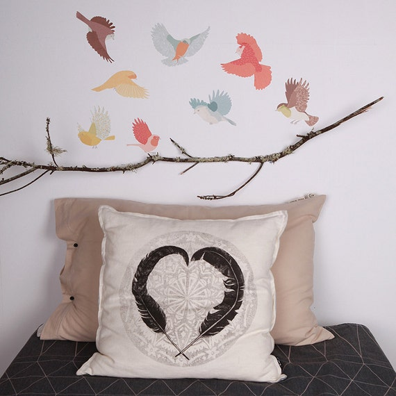 Fabric Wall Decal - Flying Twitters Earthy (reusable) NO PVC