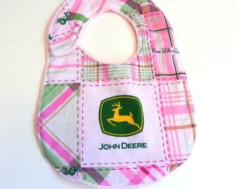 John Deere Bib, Pink Green White Plaid Girl Minky