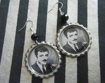 Gomez addams The Addams Family inspired bottle cap earrings with black glass beads