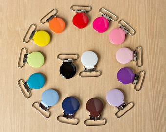 50 ENAMEL Suspender Clips Pacifier Mitten Fabric Dummy Clips  LEAD FREE Round  1inch
