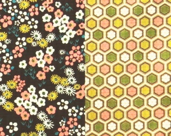 2447E -- Pretty Matching Coordinate Flower Design Sripe Patchwork  in Dk. Brown Combo ,   Japanese Cotton Fabric , Stylish Japan