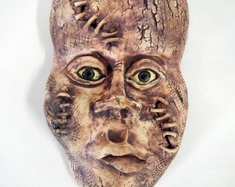 In Stitches Ceramic Wall Mask-ceramic art mask