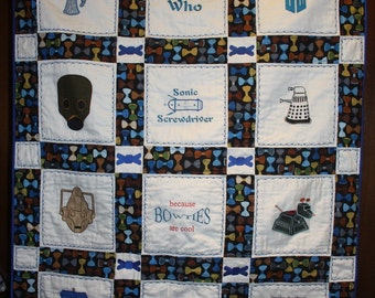 Doctor Who Machine Embroidered Lap Quilt
