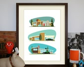 Hollywood Bungalows – A3 Artprint