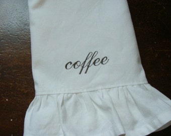 White Ruffled Tea Towel  - Personalized