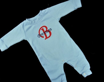 Personalized Baby Sleeper with Name and Initial / Girl or Boy Colors