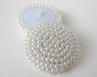 Vintage Button White Pearl Seed Beads Bridal Sewing Shank 35mm but0193 (2)