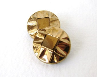 Vintage Czech Buttons Gold Black Glass Shank Faceted 18mm but0205 (4)