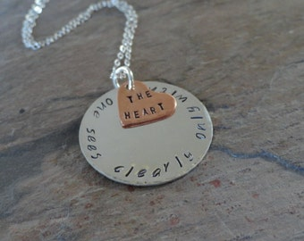 Hand Stamped Little Prince Quote Necklace - One Sees Clearly Only With The Heart - Sterling Silver Necklace - LoveStruckMetal