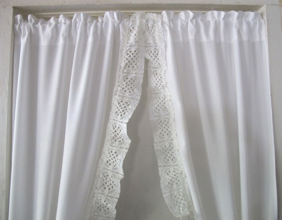 Lace RuffleTieback Curtains, White Priscilla Drapes, Antique Lace ...