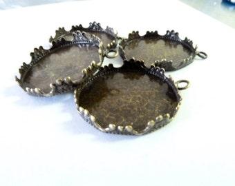Antique Bronze  Pendant Tray Cabochon