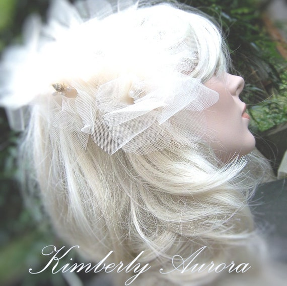 Giant Athena Tulle Flower Wedding Hairpiece - PRICE REDUCED