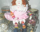 Button Doll - Shelf Sitter Doll - Collectible Doll
