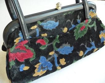 Vintage Handbag, Vintage Purse, Vintage Cara Purse, Velvet Purse,Unique Purse,Colorful Flowers,Vintage Accessories,Vintage Purse,Black Purse