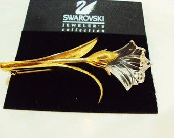 Genuine Swarovski Crystal Flower Pin On Original Card Swan Logo