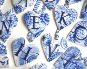 Sale - Initial - X - Monogram - Hand painted porcelain  Heart -  Blue and white Delftware Dutch Personalized gift-valentine