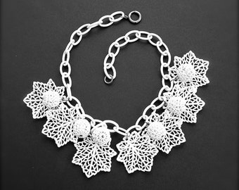 Vintage Lace Celluloid Statement Jewelry Wedding Charm White Filigree Leaves and Berries Antique Jewelry