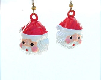 Vintage Kitsch Santa Claus Dangle Earrings Bells Holiday Jewelry