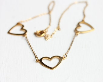 Three Hearts Necklace, Heart Necklace, Heart Charm Necklace, Gold Heart Necklace