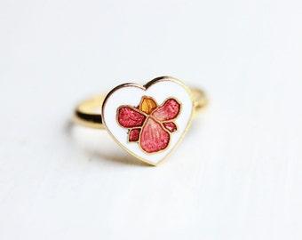 Enamel Heart Ring, Flower Heart Ring, Orchid Ring, Enamel Flower Ring, Enamel Ring, Vintage Flower Ring, Gold Flower Ring, Gold Ring, Ring