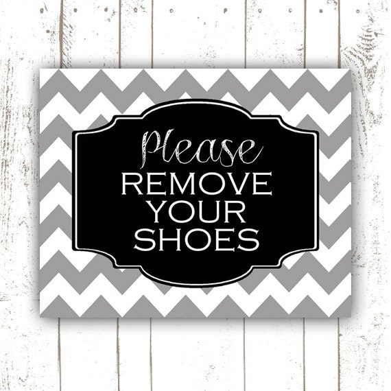 Playful image within no shoes sign printable