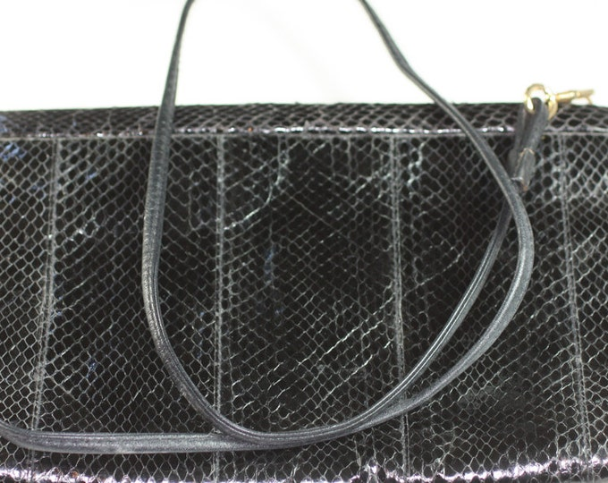 Morgan Taylor Black Snakeskin Purse Handbag Vintage