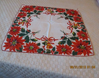 Hanky, vintage Christmas  motif, poinsettias, bows and bells  1940's all cotton