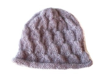 Mohair hand knitted hat Made to order