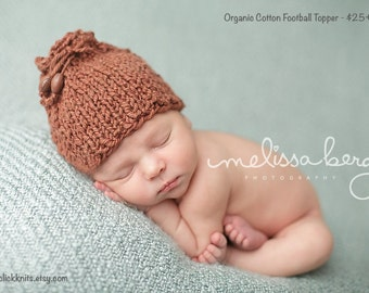 Organic Brown Cotton Touchdown Football Beanie - newborn photo prop