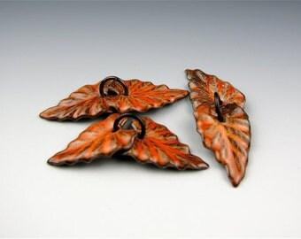 Enameled Ivy Leaf  / Sunset Orange Enamel / Made to order