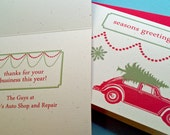 Personalized Volkswagen Bug and Green Tree Holiday Card