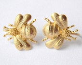 Bumble Bee Earrings - Honey Bee - Gold Bee Earrings - Insect Earrings - Bug Earrings - Gift Under 20