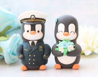 Wedding cake toppers Military Penguin US Navy dress blue - with hat- unique bride groom profession job personalized wedding gift anniversary